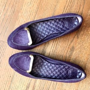 Tory Burch Purple Calf Hair Smoking Flats